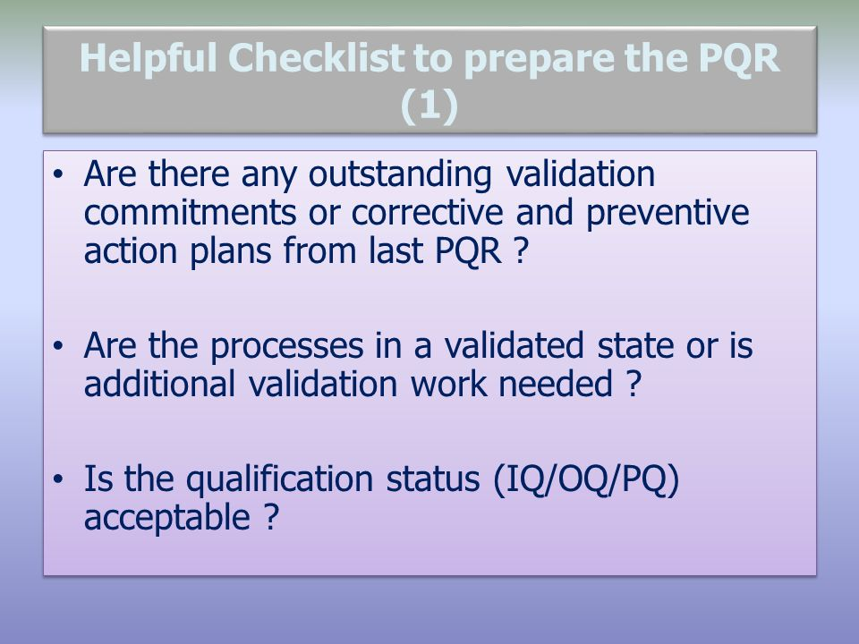 Helpful Checklist to prepare the PQR (1)