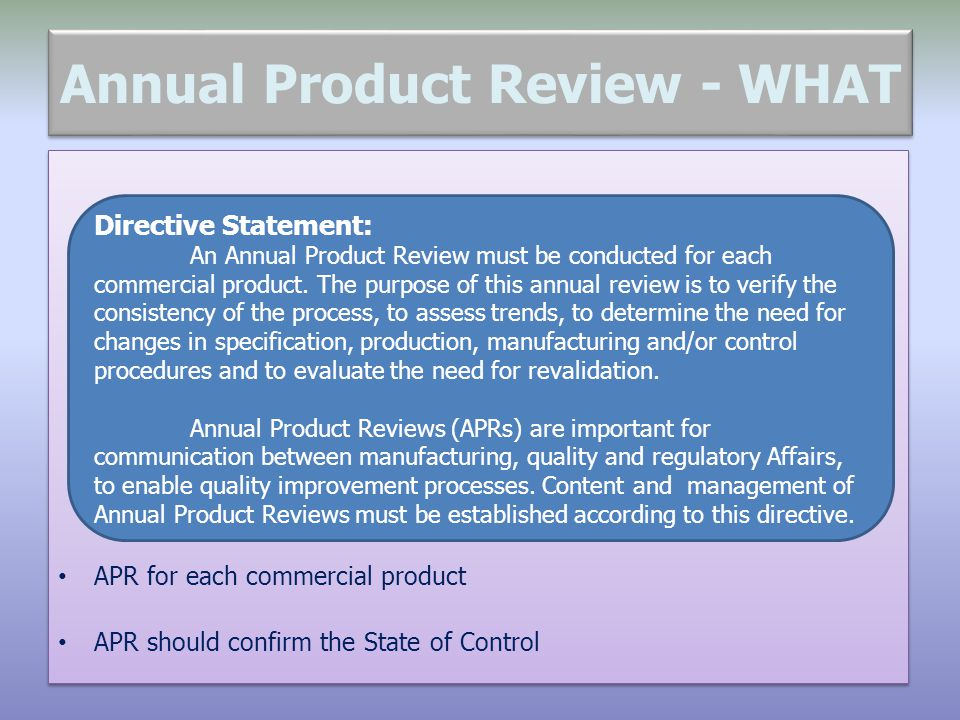 Annual Product Review - WHAT