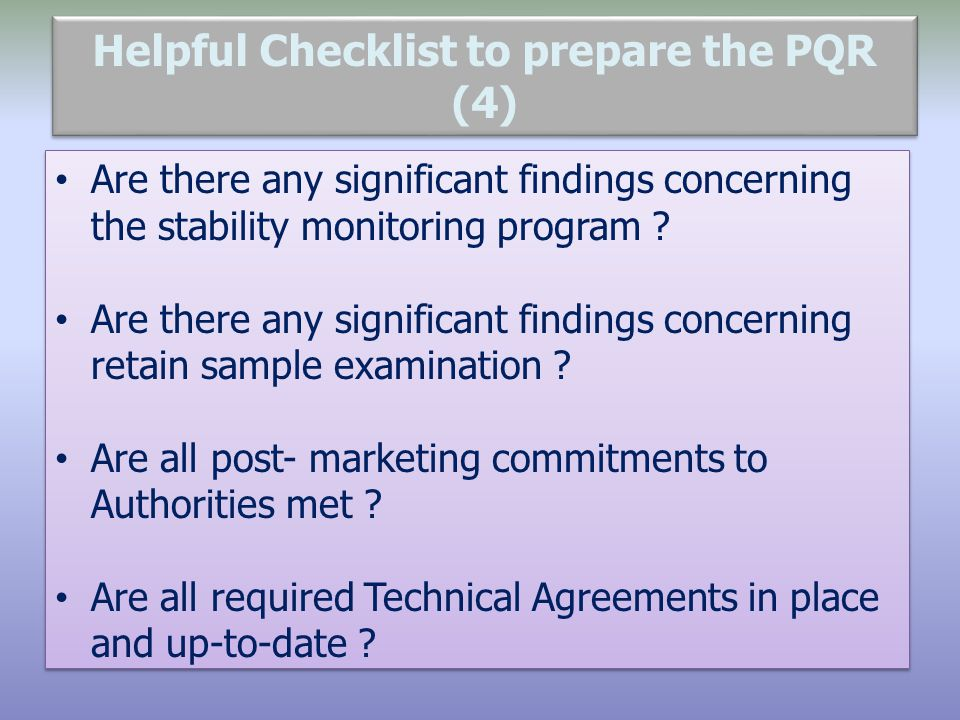 Helpful Checklist to prepare the PQR (4)