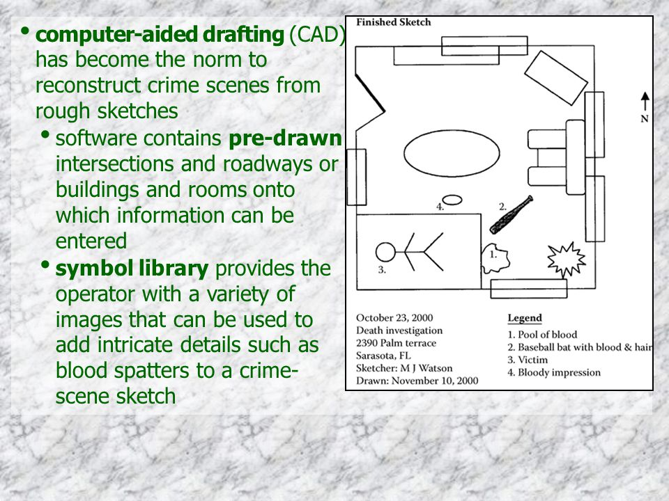 computer-aided drafting (CAD) has become the norm to reconstruct crime scenes from rough sketches