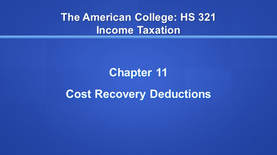 The American College: HS 321 Income Taxation