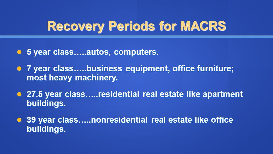 Recovery Periods for MACRS