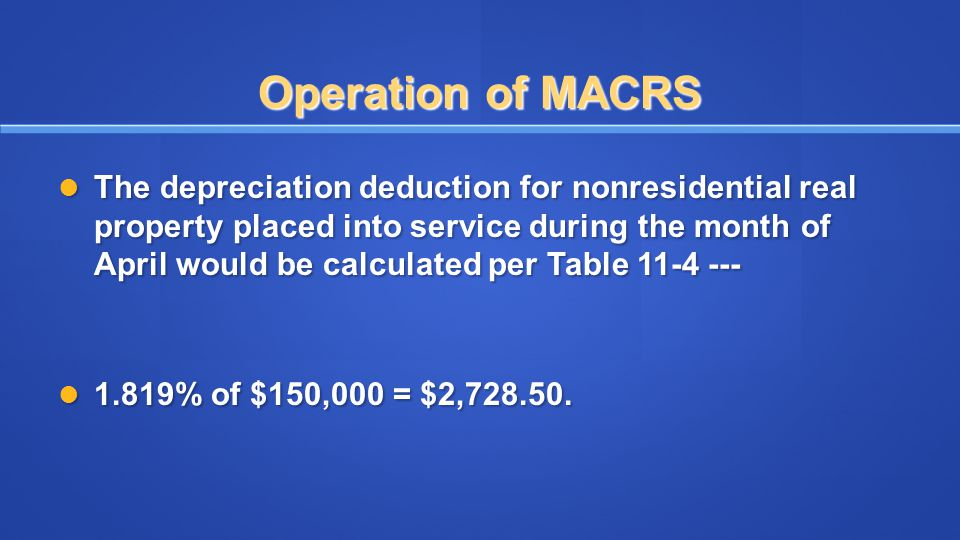 Operation of MACRS