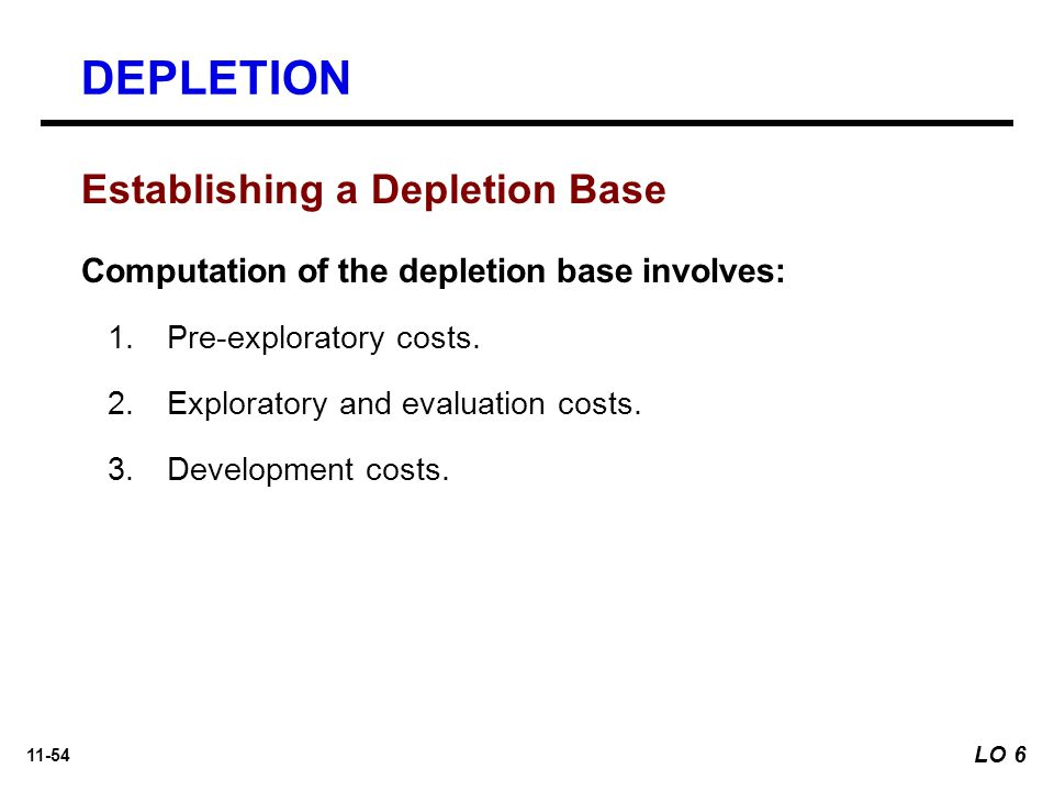 DEPLETION Establishing a Depletion Base