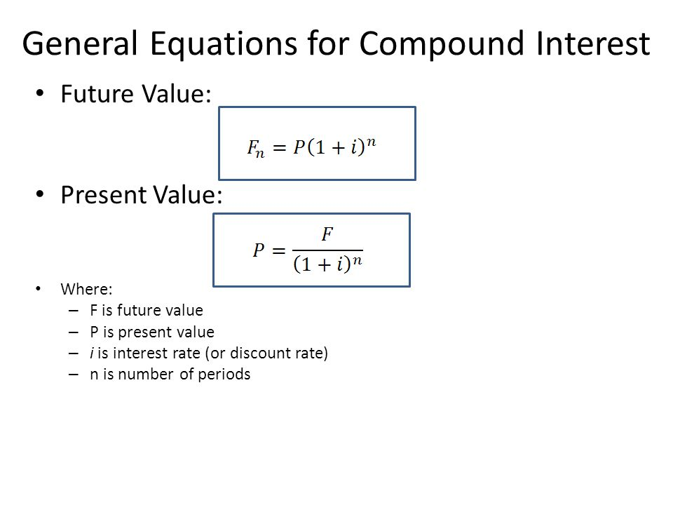 General Equations for Compound Interest