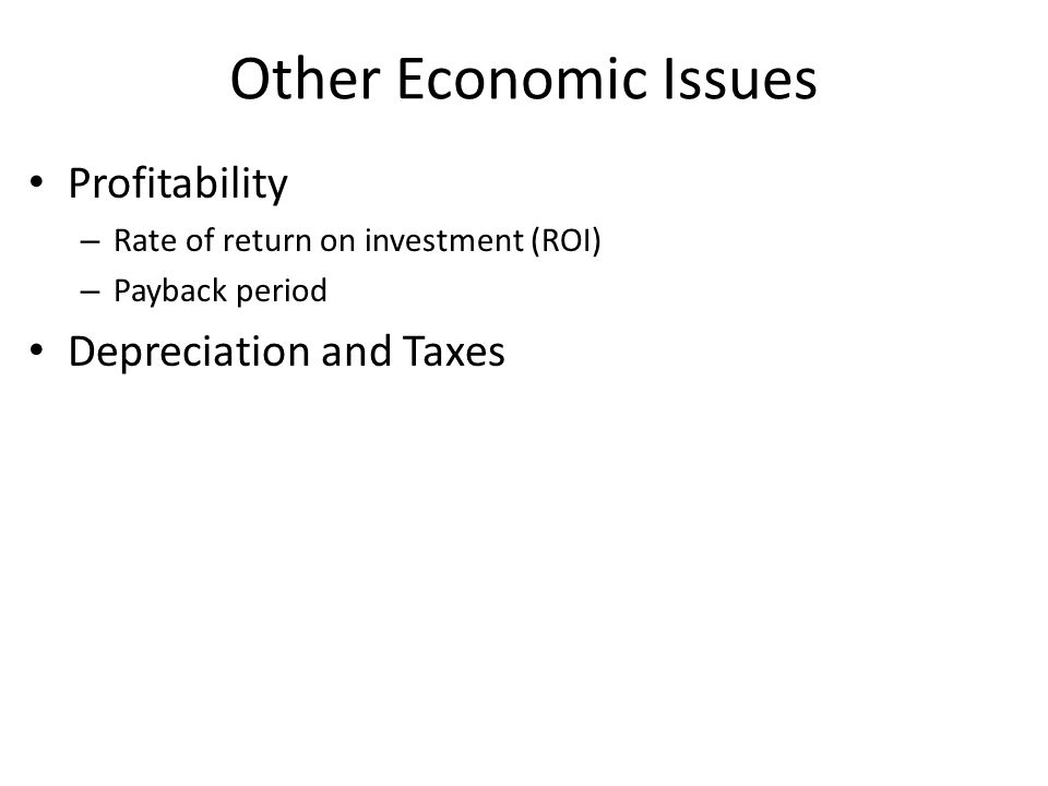 Other Economic Issues Profitability Depreciation and Taxes