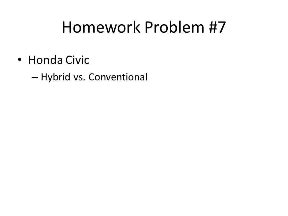 Homework Problem #7 Honda Civic Hybrid vs. Conventional