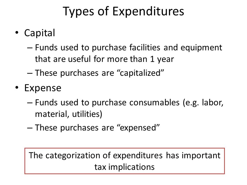 The categorization of expenditures has important tax implications