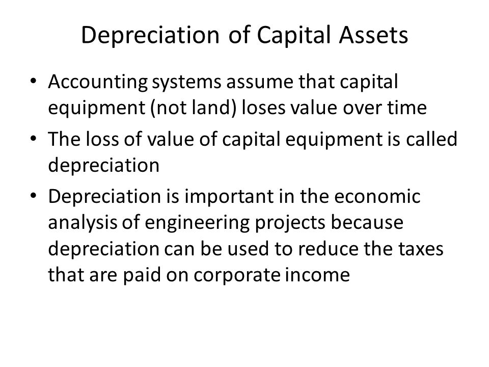 Depreciation of Capital Assets