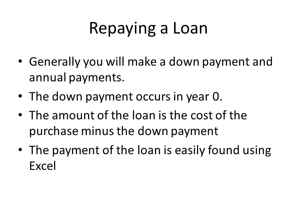 Repaying a Loan Generally you will make a down payment and annual payments. The down payment occurs in year 0.