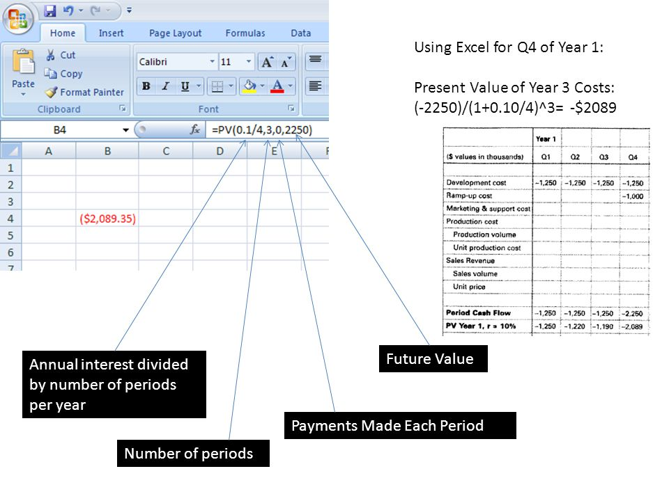 Using Excel for Q4 of Year 1: