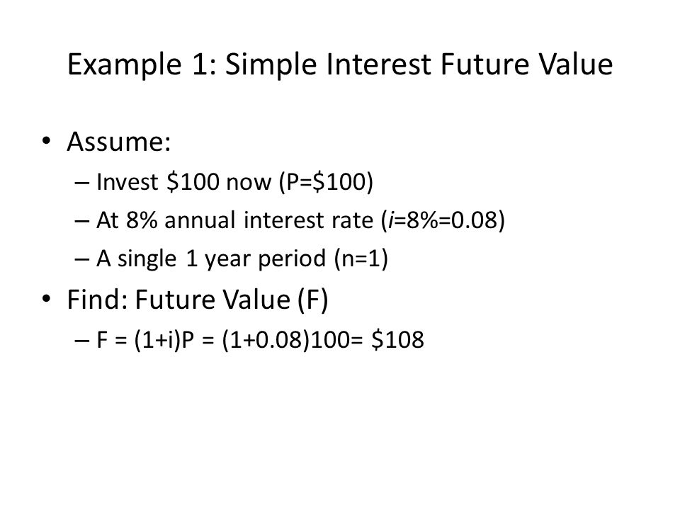 Example 1: Simple Interest Future Value