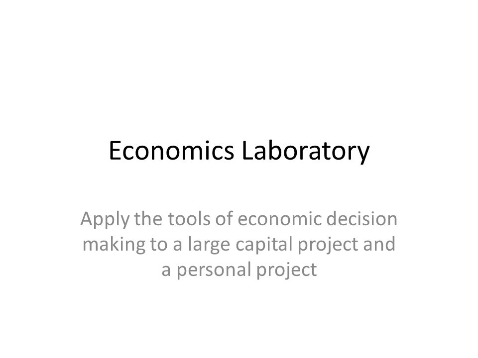 Economics Laboratory Apply the tools of economic decision making to a large capital project and a personal project.