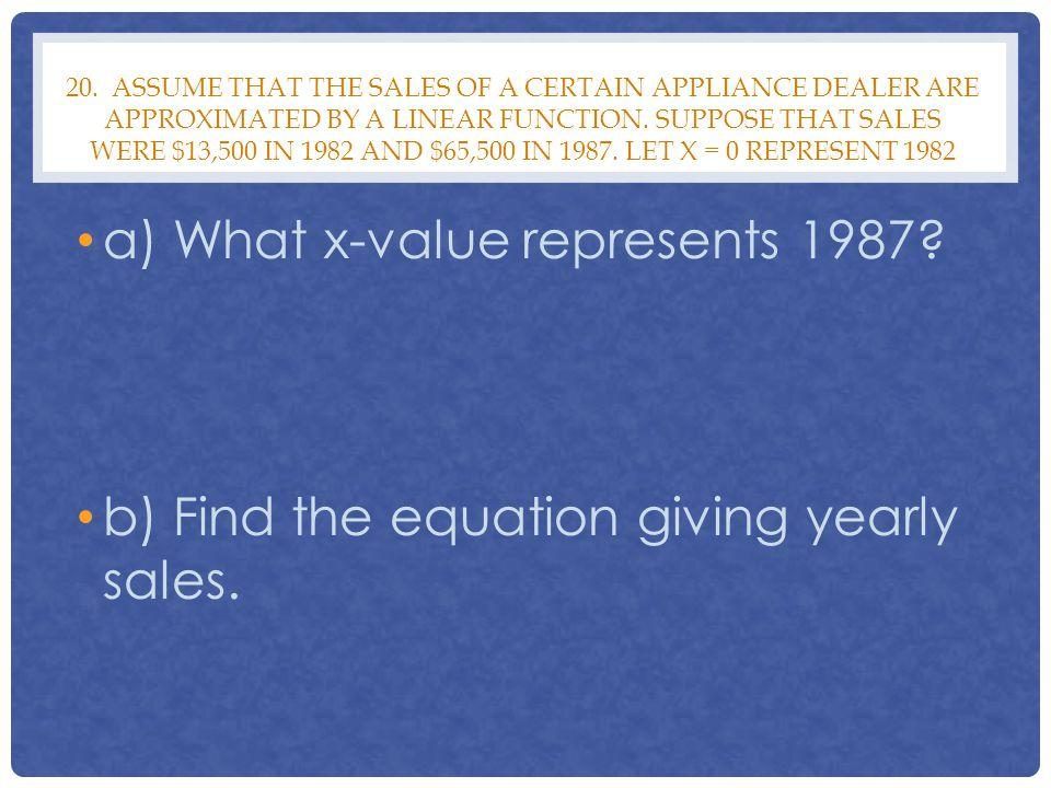 a) What x-value represents 1987