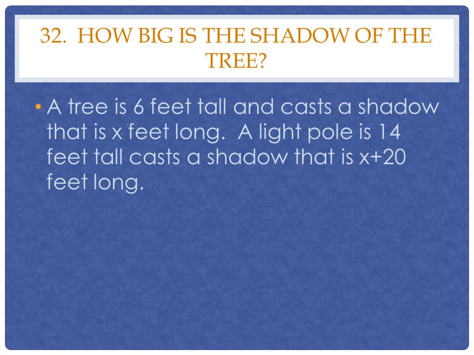 32. How big is the shadow of the tree