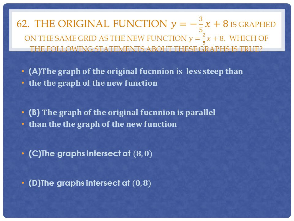 62. The original function 𝑦=− 3 5 𝑥+8 is graphed on the same grid as the new function 𝑦= 2 5 𝑥+8. Which of the following statements about these graphs is true