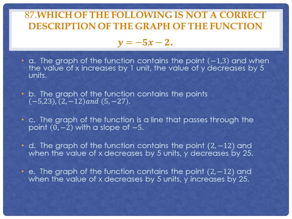 87.Which of the following is not a correct description of the graph of the function 𝒚=−𝟓𝒙−𝟐.