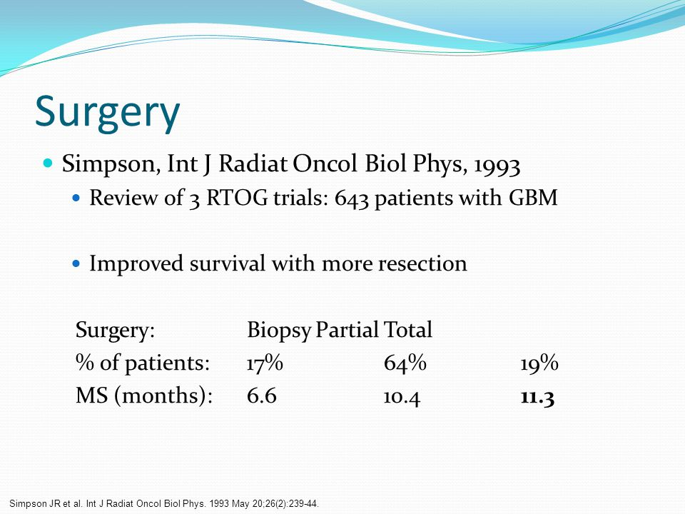 Surgery Simpson, Int J Radiat Oncol Biol Phys, 1993