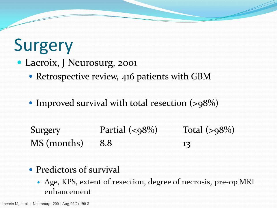 Surgery Lacroix, J Neurosurg, 2001