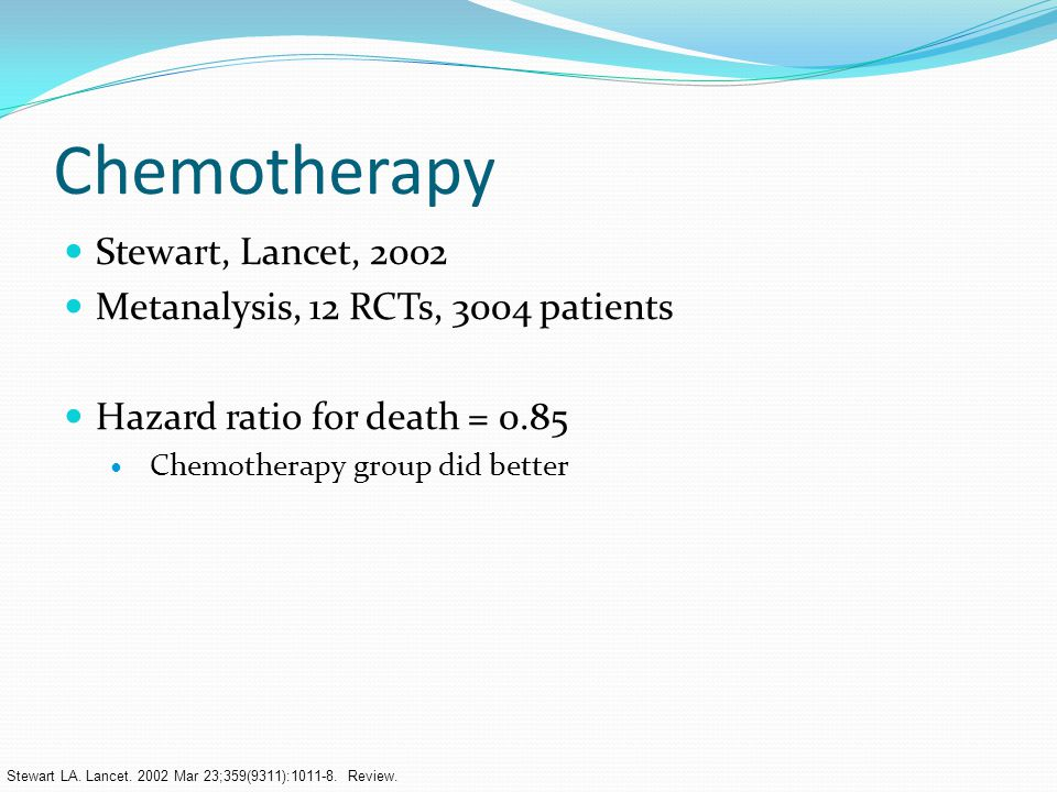 Chemotherapy Stewart, Lancet, 2002 Metanalysis, 12 RCTs, 3004 patients