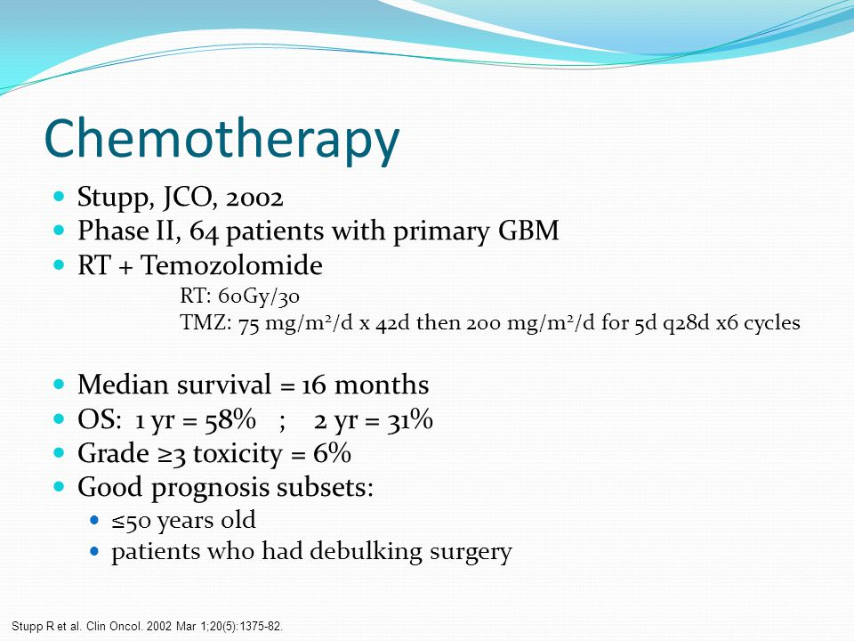 Chemotherapy Stupp, JCO, 2002 Phase II, 64 patients with primary GBM