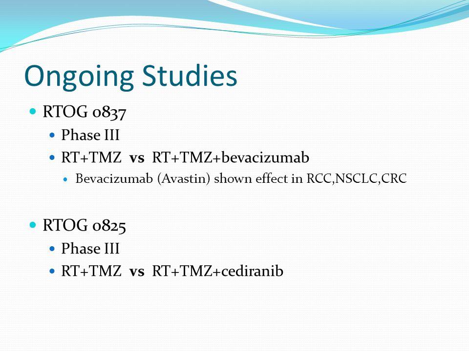 Ongoing Studies RTOG 0837 RTOG 0825 Phase III
