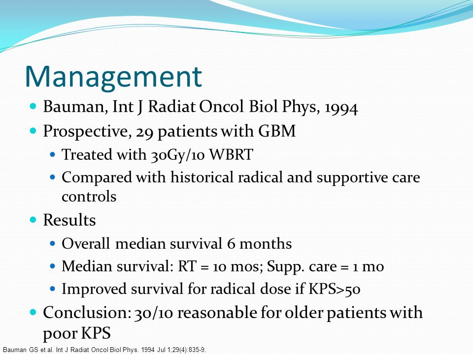 Management Bauman, Int J Radiat Oncol Biol Phys, 1994