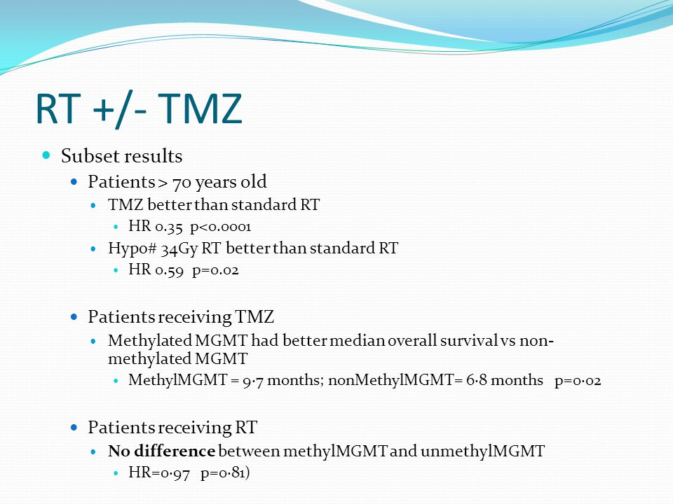 RT +/- TMZ Subset results Patients > 70 years old