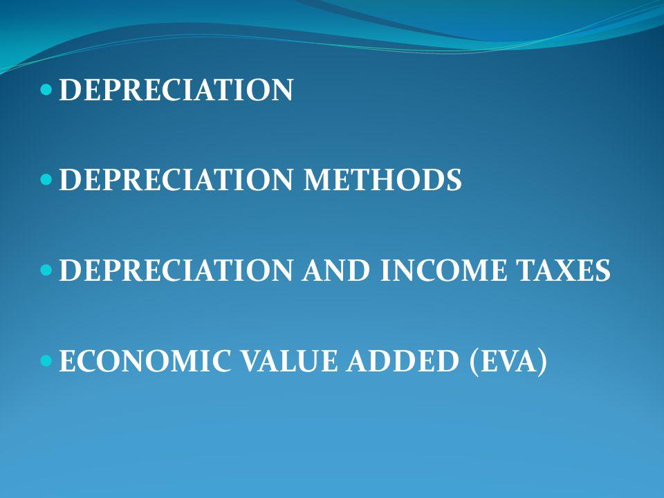 DEPRECIATION DEPRECIATION METHODS DEPRECIATION AND INCOME TAXES ECONOMIC VALUE ADDED (EVA)