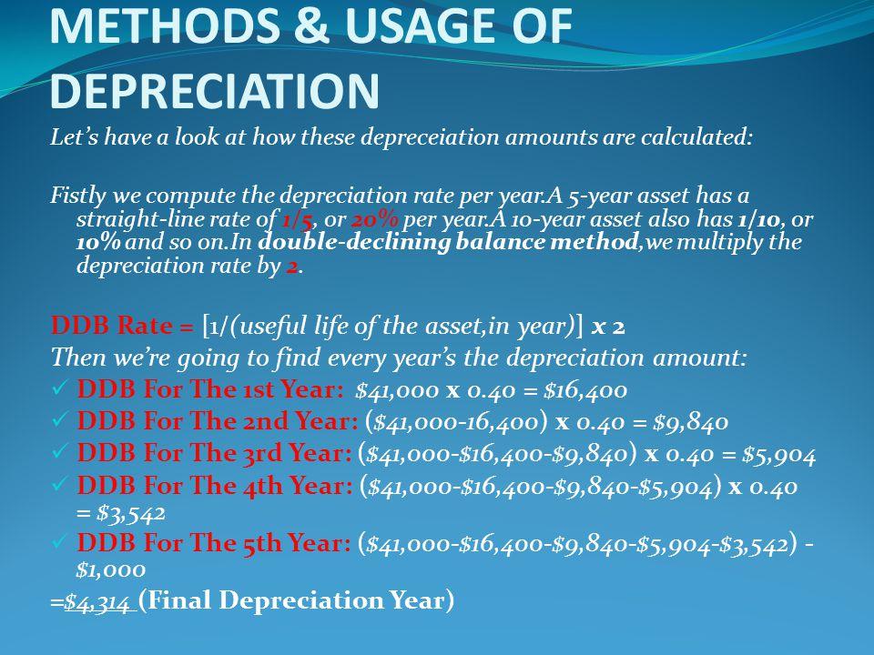 METHODS & USAGE OF DEPRECIATION