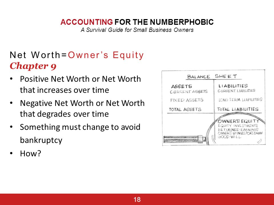 Net Worth=Owner's Equity Chapter 9