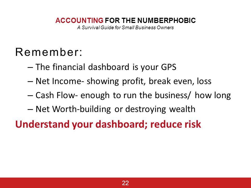 Understand your dashboard; reduce risk