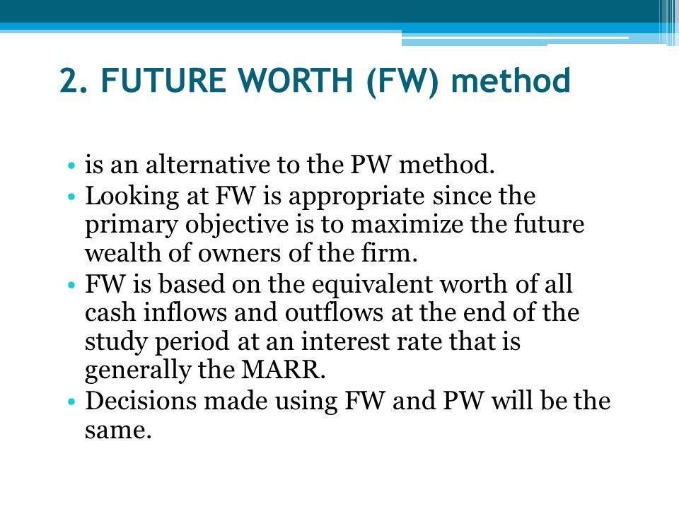 2. FUTURE WORTH (FW) method