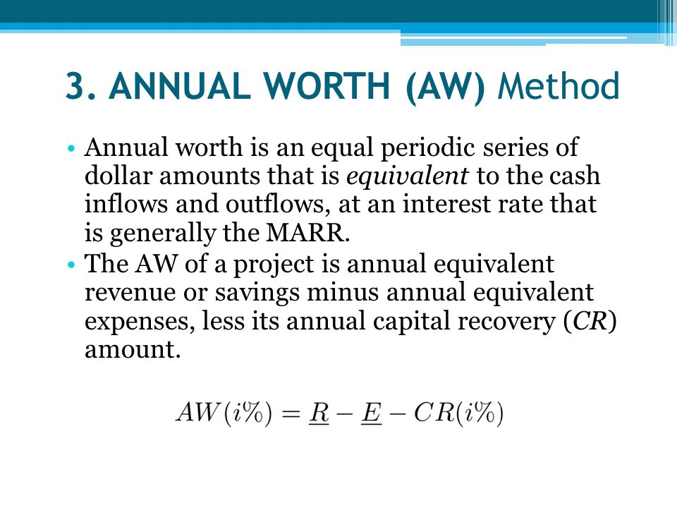 3. ANNUAL WORTH (AW) Method