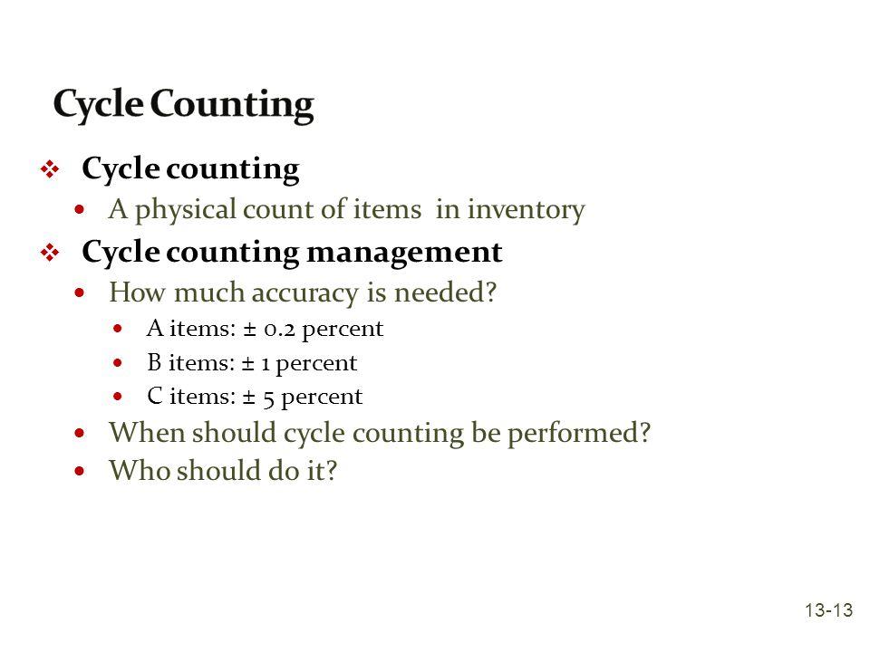 Cycle Counting Cycle counting Cycle counting management
