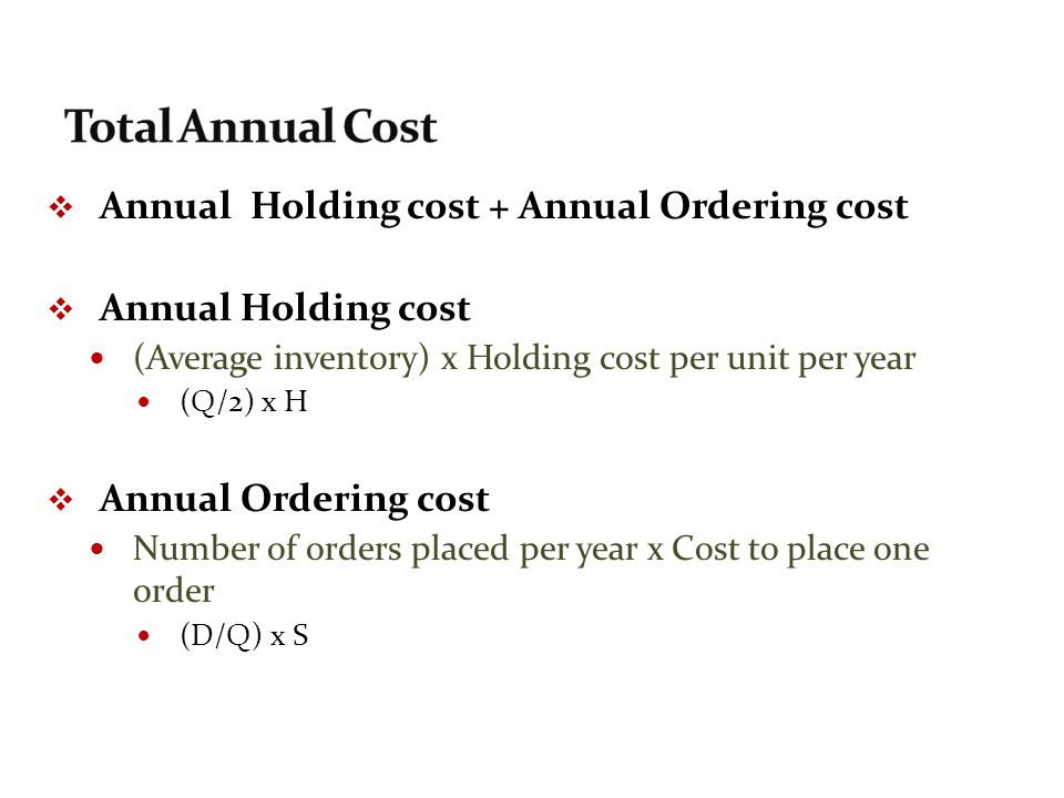 Total Annual Cost Annual Holding cost + Annual Ordering cost