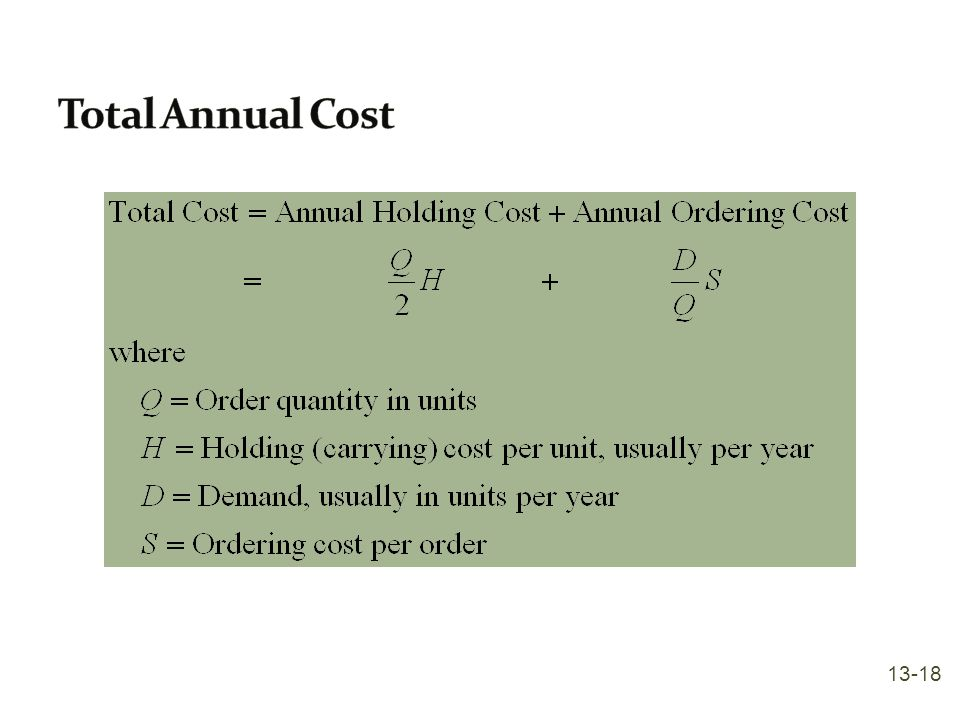 Total Annual Cost 13-18