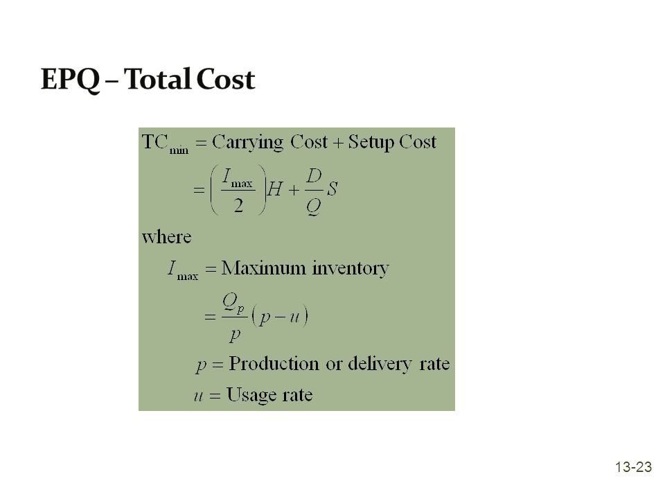 EPQ – Total Cost 13-23
