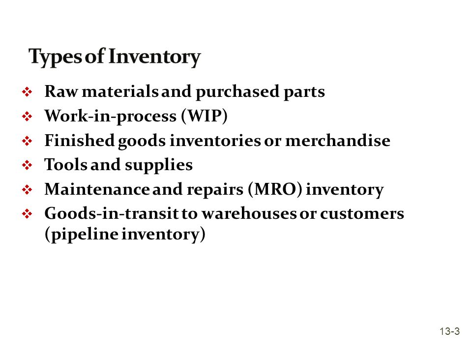 inventory and raw materials Types of inventories there are several types of inventory raw materials, purchased parts and supplies work-in process, and component parts are inventories to many.