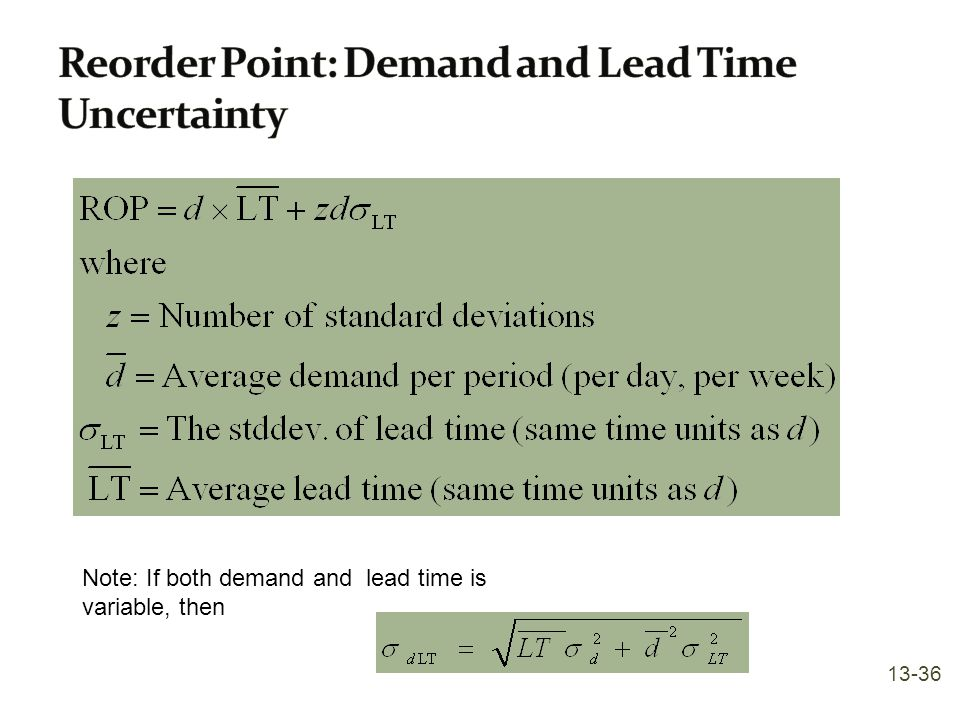Reorder Point: Demand and Lead Time Uncertainty