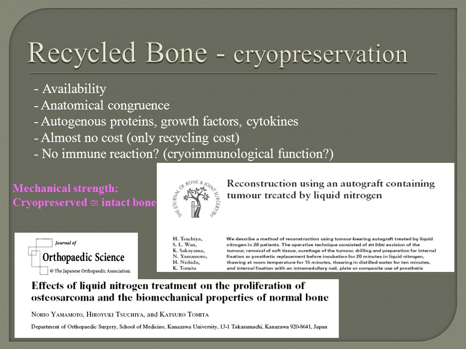 Recycled Bone - cryopreservation