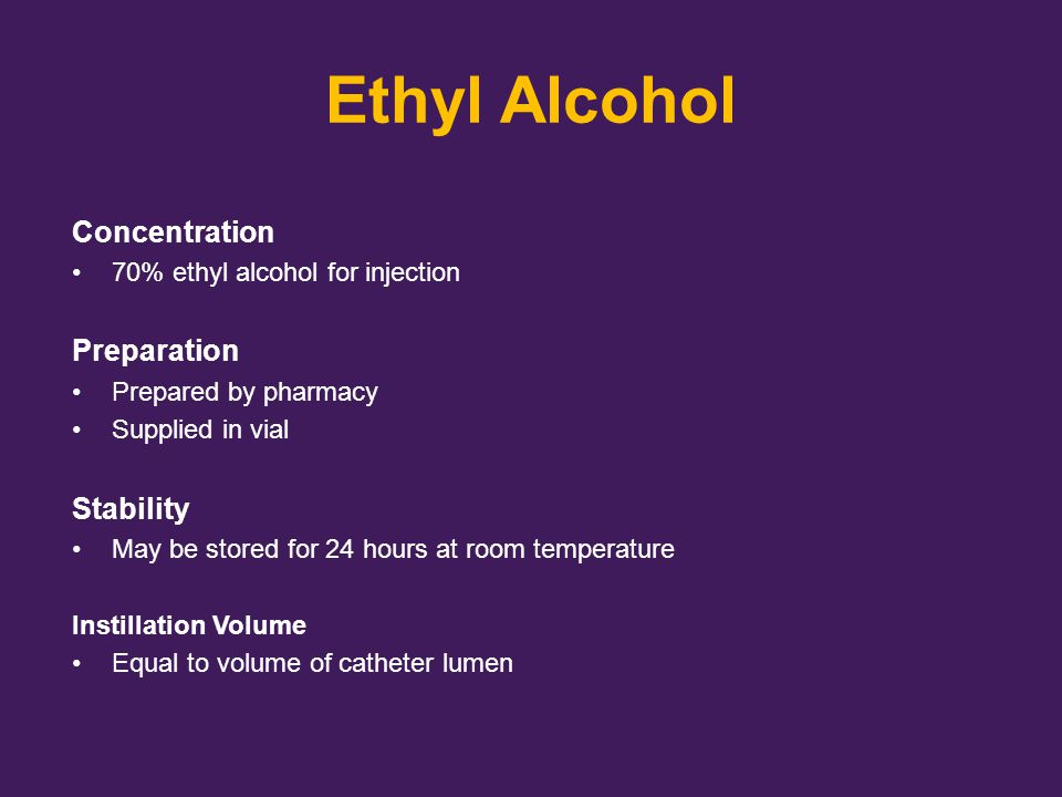 Ethyl Alcohol Concentration Preparation Stability
