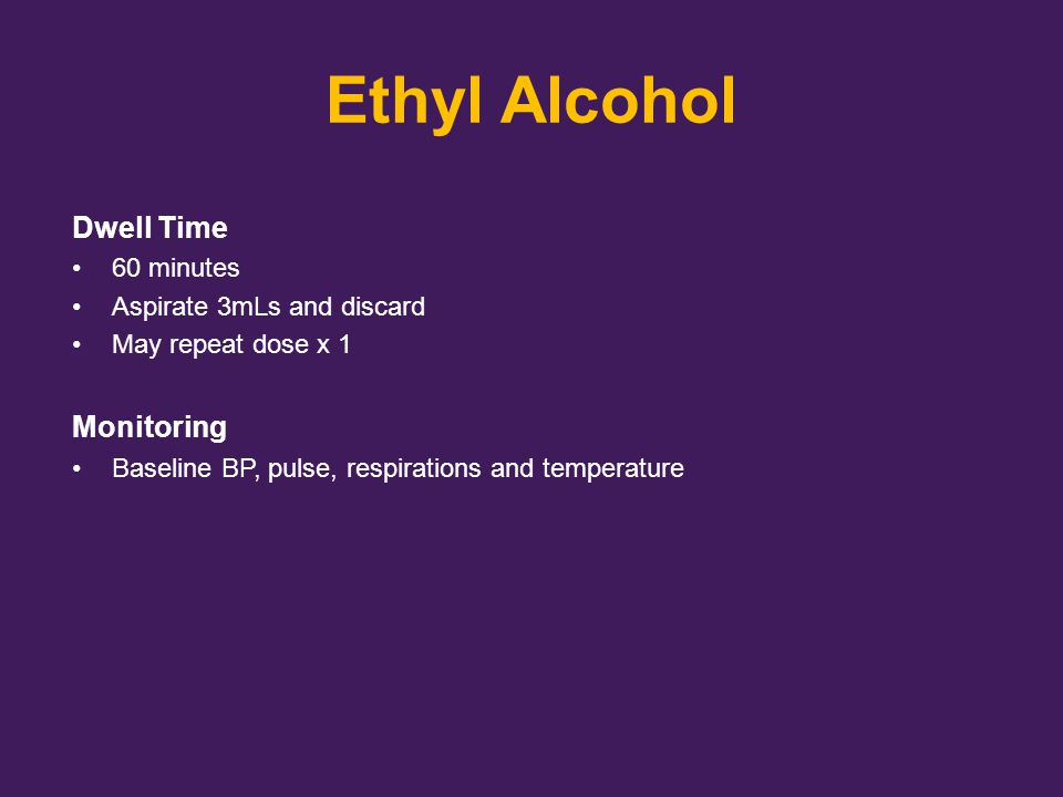 Ethyl Alcohol Dwell Time Monitoring 60 minutes