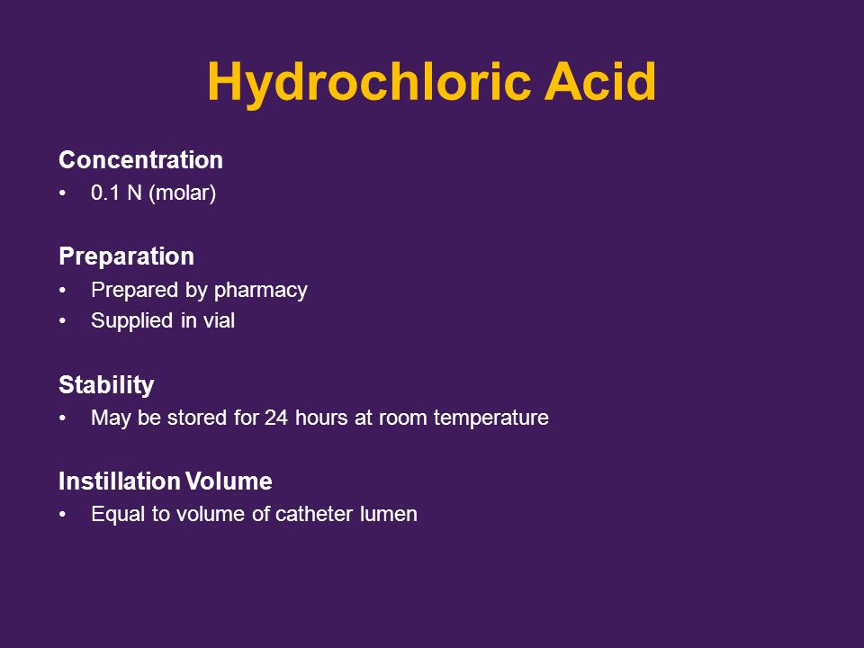 Hydrochloric Acid Concentration Preparation Stability