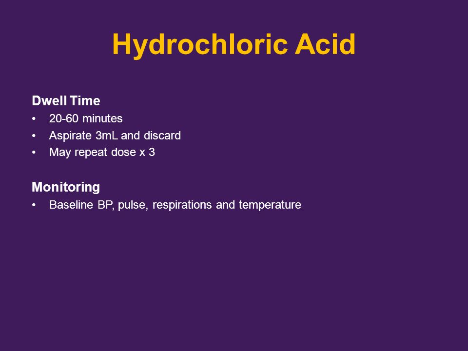 Hydrochloric Acid Dwell Time Monitoring 20-60 minutes