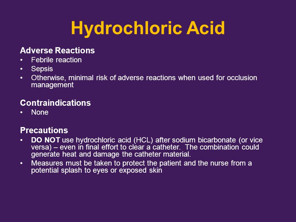 Hydrochloric Acid Adverse Reactions Contraindications Precautions