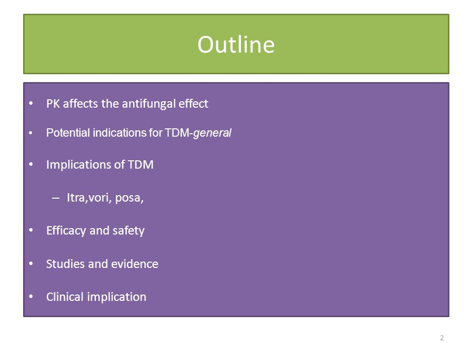 Outline PK affects the antifungal effect Implications of TDM