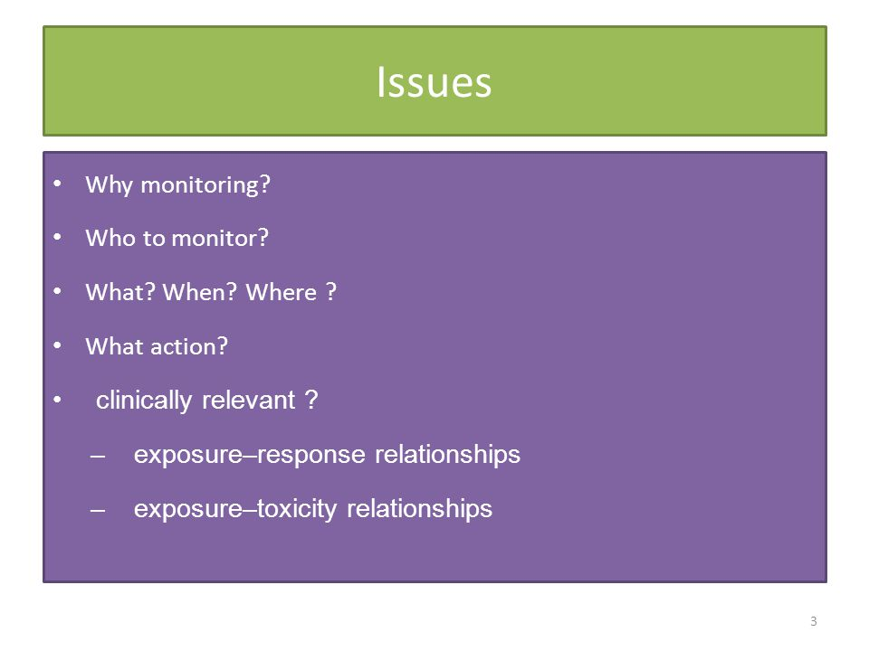 Issues Why monitoring Who to monitor What When Where