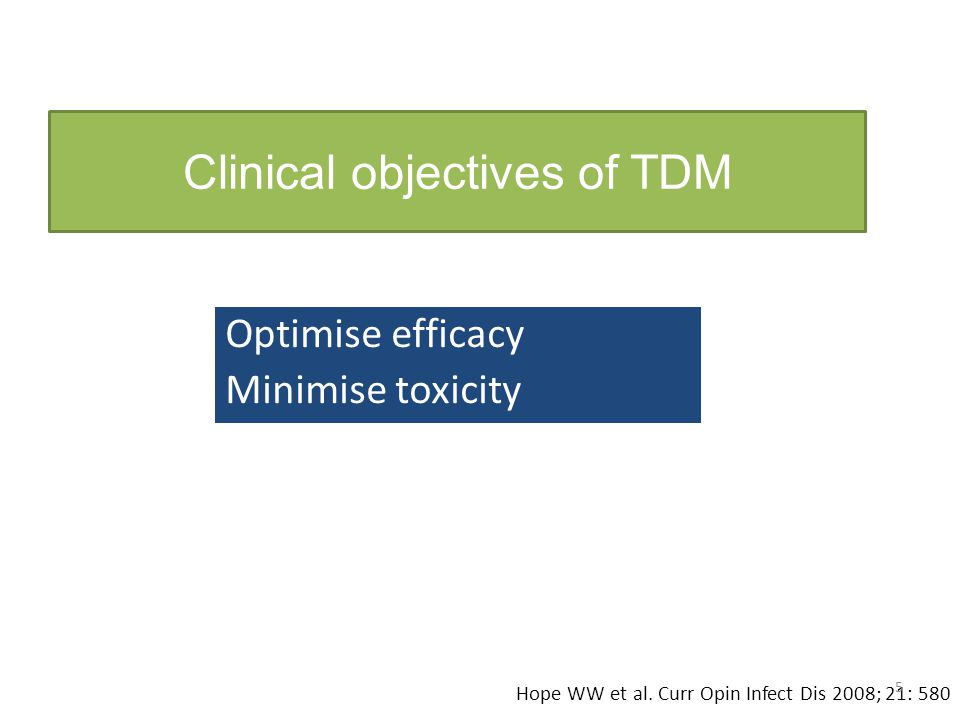 Clinical objectives of TDM
