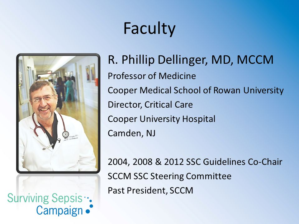 Faculty R. Phillip Dellinger, MD, MCCM Professor of Medicine